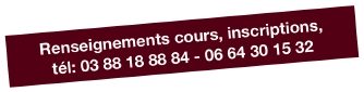renseignements, cours, inscriptions